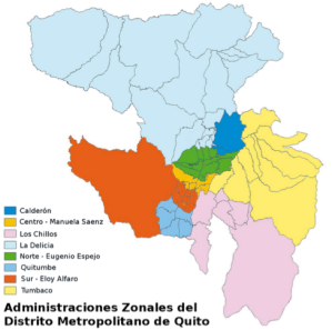 (Administrative Zones of Quito Source: http://commons.wikimedia.org/wiki/File:Administraciones_Zonales_DM_Quito.png)
